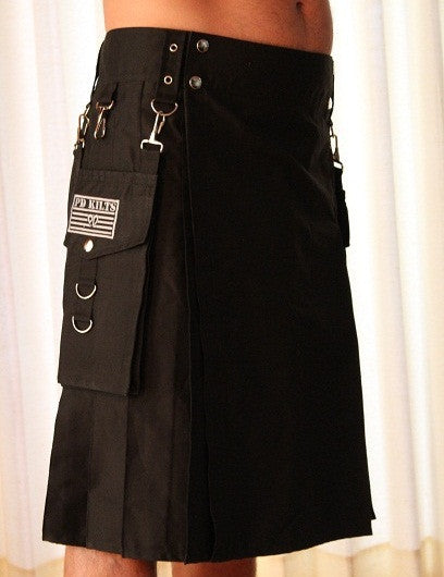 kilt, black kilt, mens kilt, utility kilt, adjustable kilt