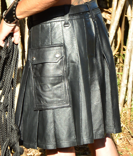 Men's Black Leather Matrix Kilt