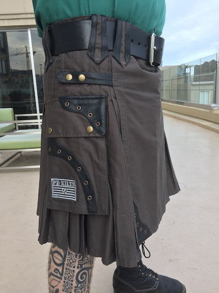 Men's Steampunk Steel Kilt with Black Leather Accents