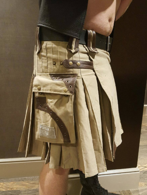 Men's Steampunk Khaki Kilt with Brown Leather Accents
