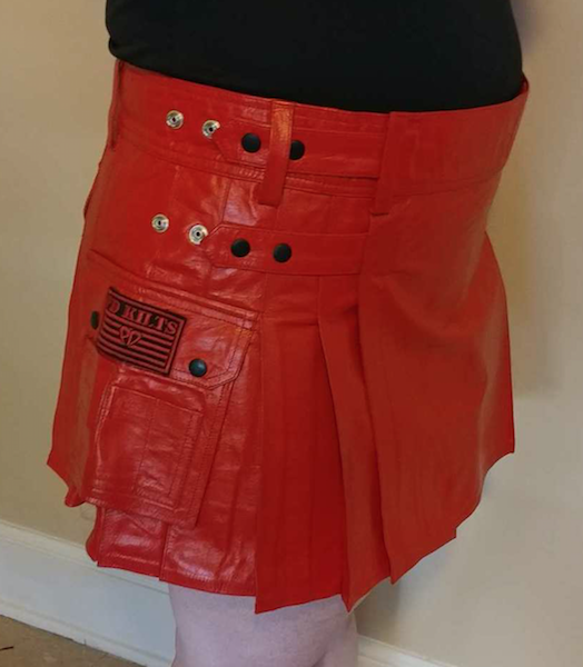 Women's Red Leather Utility Kilt