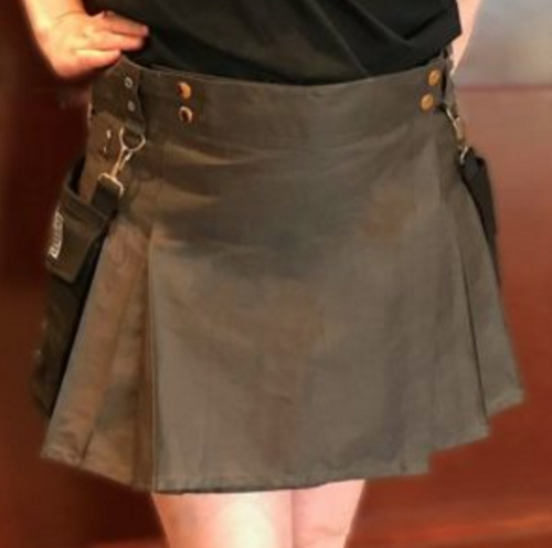 Women's OH8 Steel Grey Kilt with Removable Black Pockets