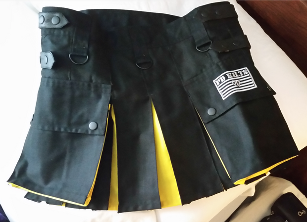 kilt, women's kilt, women's utility kilt, utility kilt, multi colored kilt, black and yellow kilt