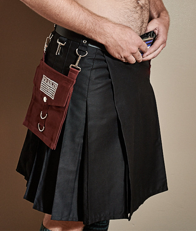burgundy pocket, black kilt, nickel clip, d ring