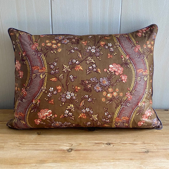 Brunshwig & Fils Brown Floral Chintz Pillow