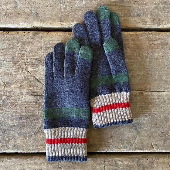 Tilden Wool Touchscreen Gloves - Charcoal, Beige & Olive