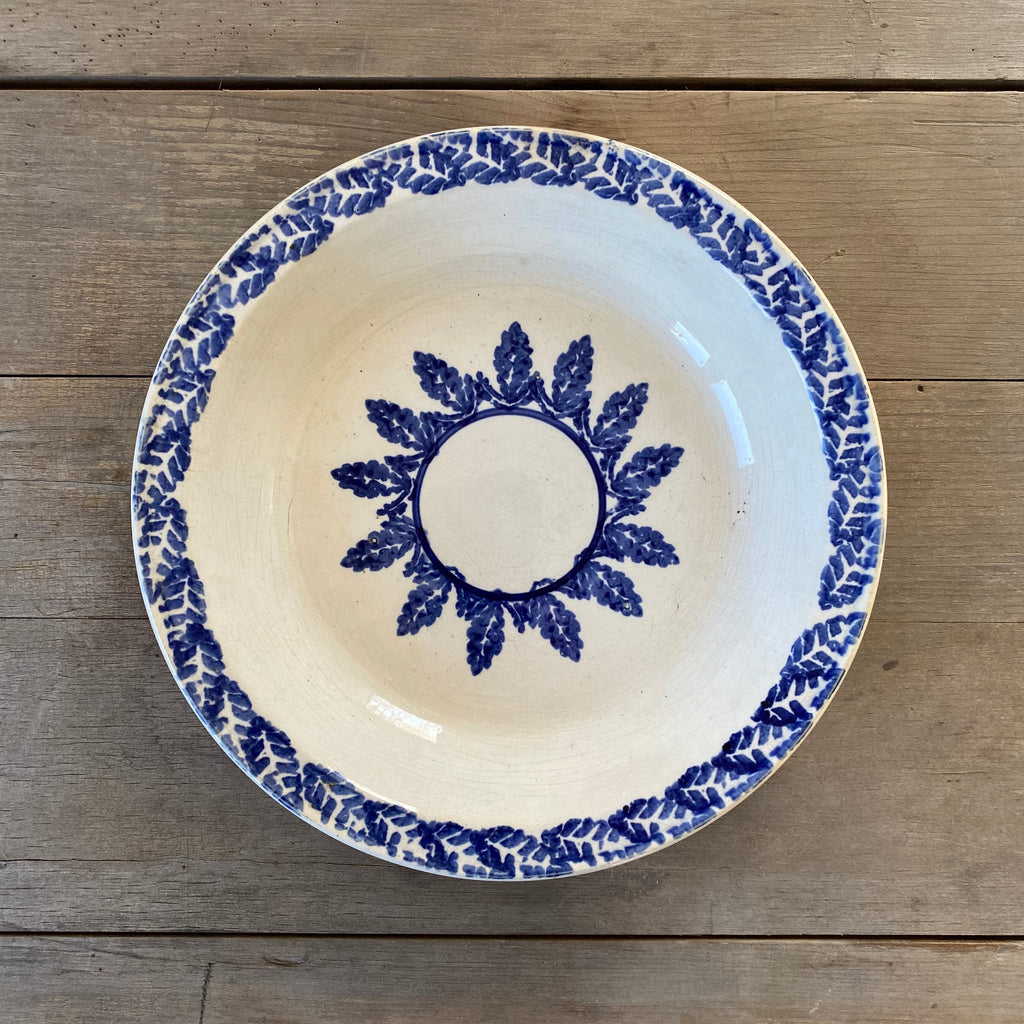 Antique Round Serving Bowl with Blue Transferware Leaf Pattern