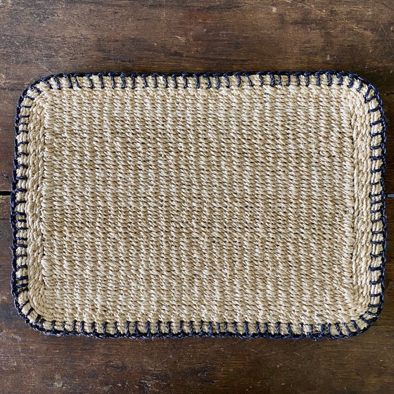Navy Saddle Stitch Abaca Placemat