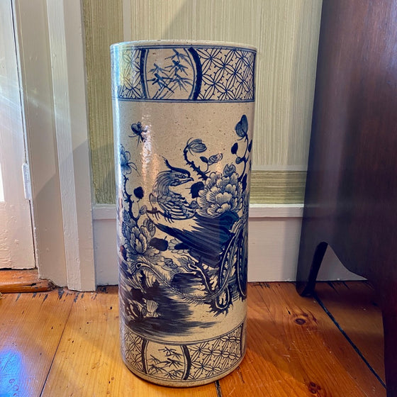 Chinese Porcelain Umbrella Stand with Birds