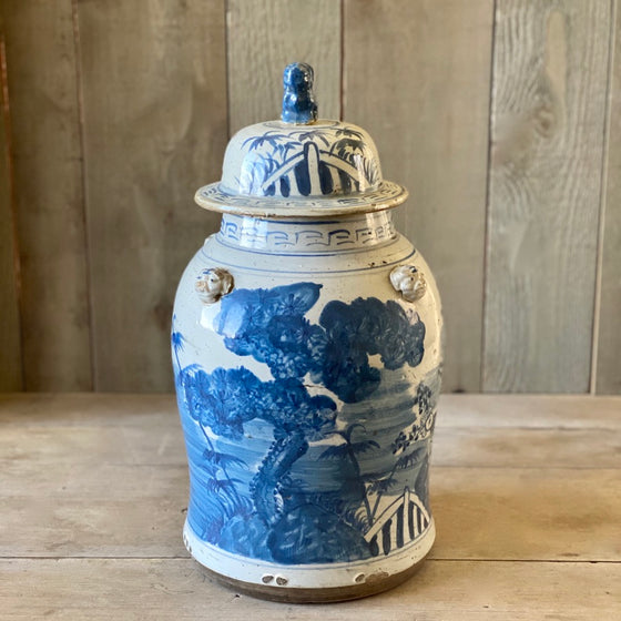 Chinese Porcelain Temple Jar with Tree - Large