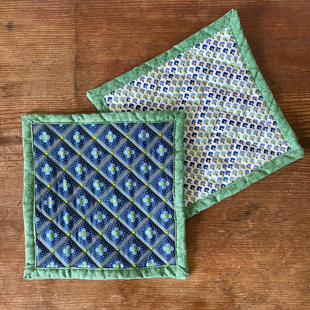 Set of Liberty of London Quilted Potholders - Manor Tile Green