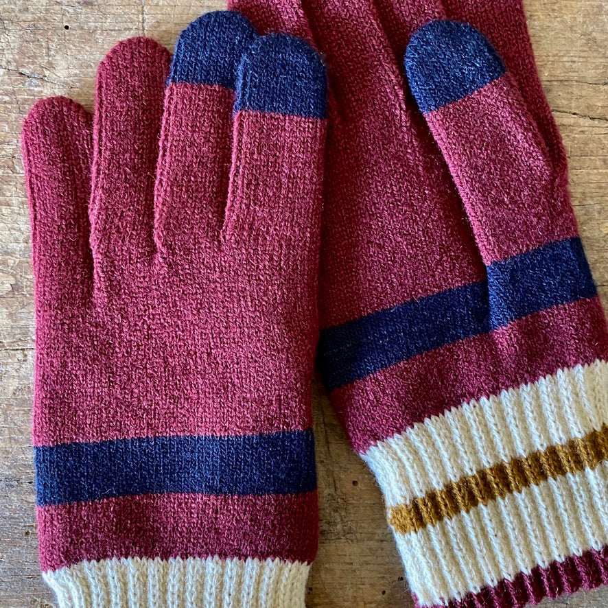 Tilden Wool Touchscreen Gloves - Burgundy, Vanilla & Navy