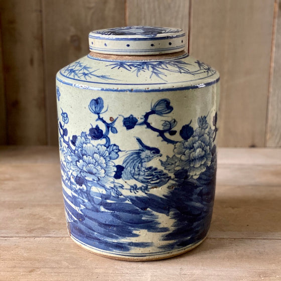 Chinese Porcelain Cylinder Tea Jar with Bird and Flowers - Medium