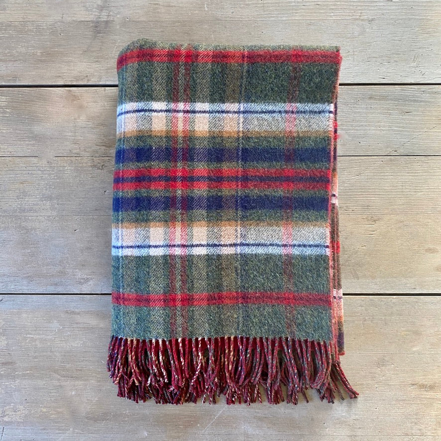Heritage Lambswool Double Face Throw in Green Check