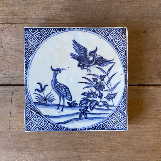 Chinese Porcelain Tile with Crested Birds