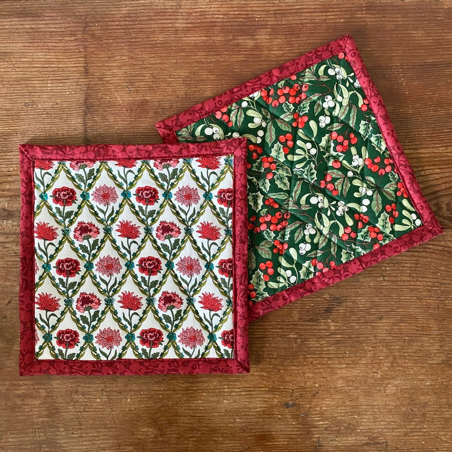 Set of Liberty of London Quilted Potholders - Christmas Berry