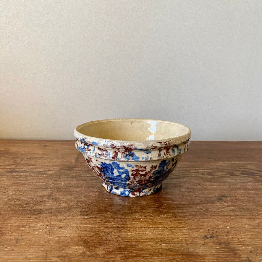 Vintage Blue & Brown Spongeware Bowl