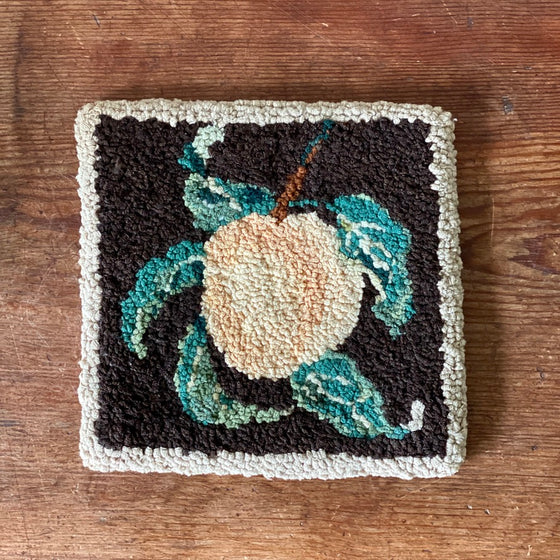 Antique Peach Hooked Rug Square