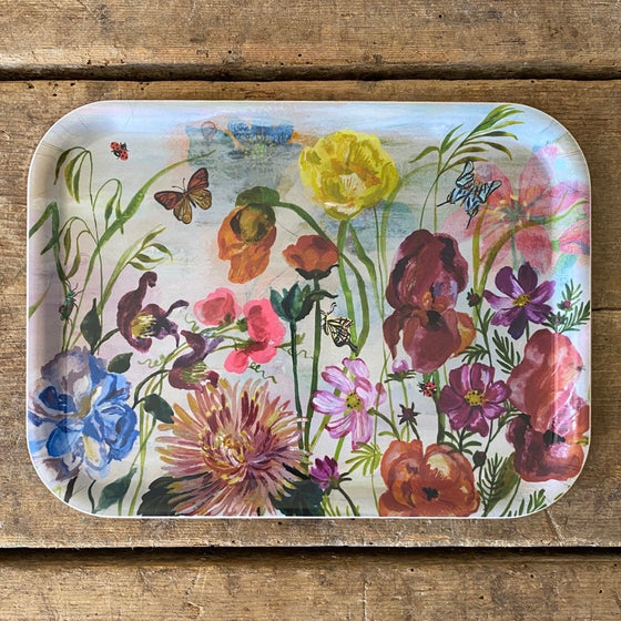 Rectangular Meadow Flowers Wood Tray