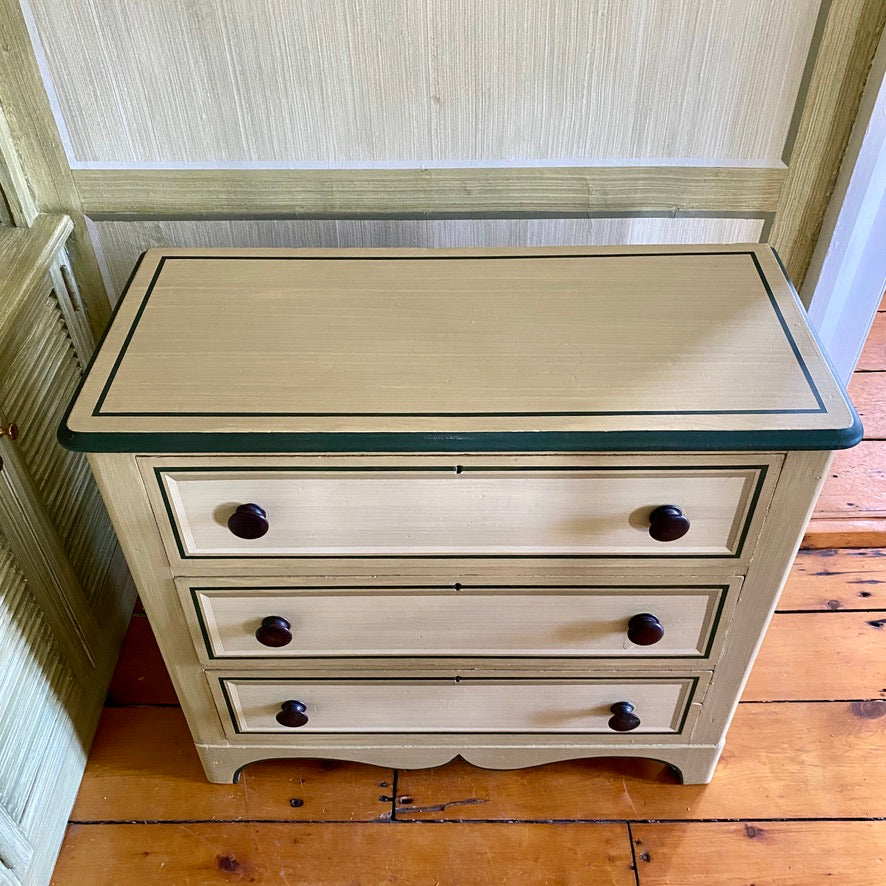 19th Century Chest of Drawers with Dragged Finish and Trompe l'eoil Panels