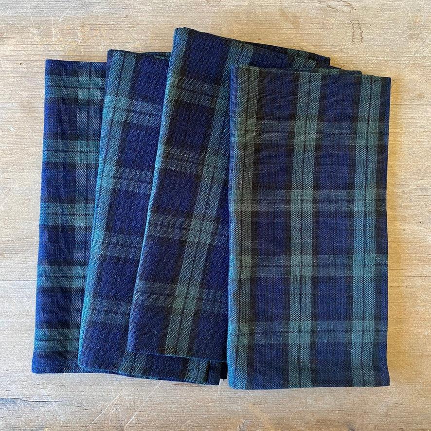 Green & Navy Plaid Linen Napkins - Set of 4