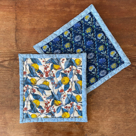 Set of Liberty of London Quilted Potholders - Conservatory Fruit