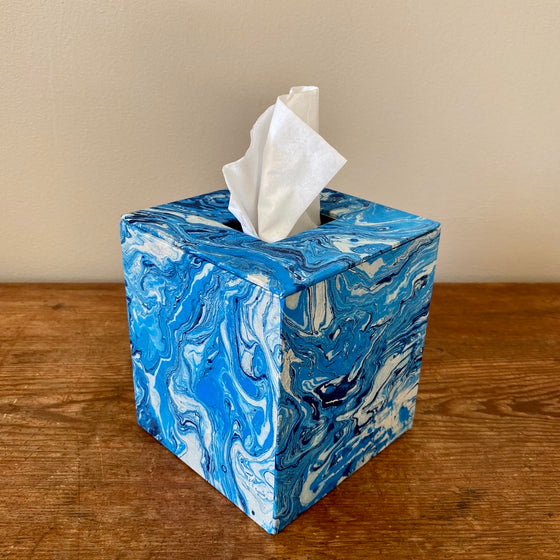 Square Tissue Box - Blue Marble