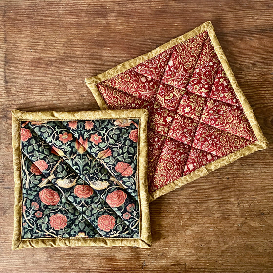 William Morris Quilted Potholders - Rose