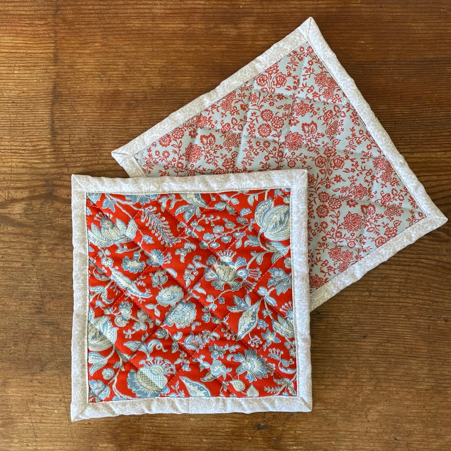 Set of Liberty of London Quilted Potholders - Victoria Floral