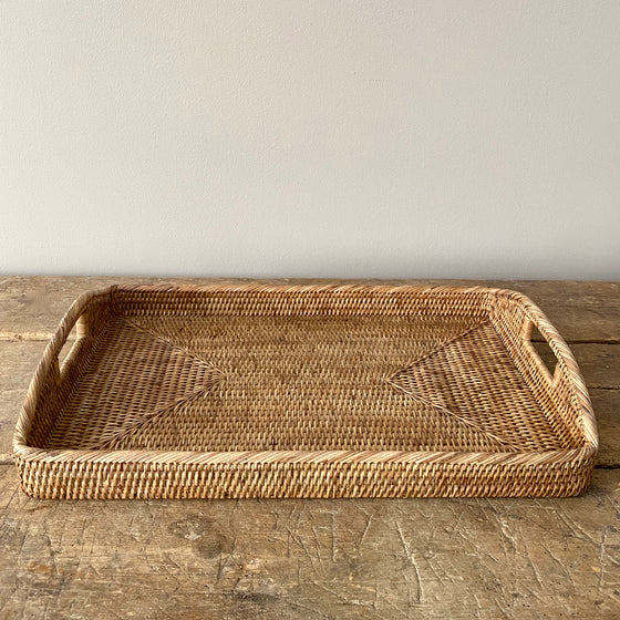 Handwoven Rattan Serving Tray with Handles