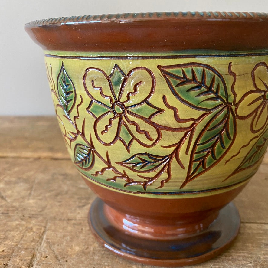 Footed Redware Bowl with Carved & Painted Flowers