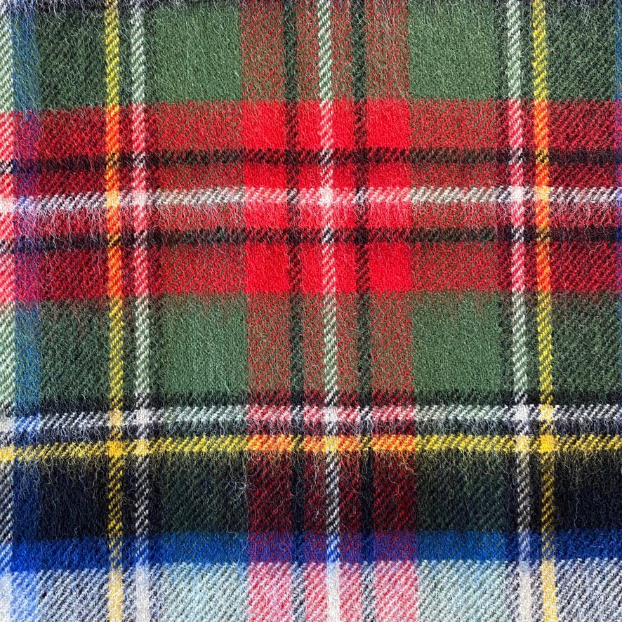 Scottish Tartan Lambswool Throw - Stewart Dress Silver