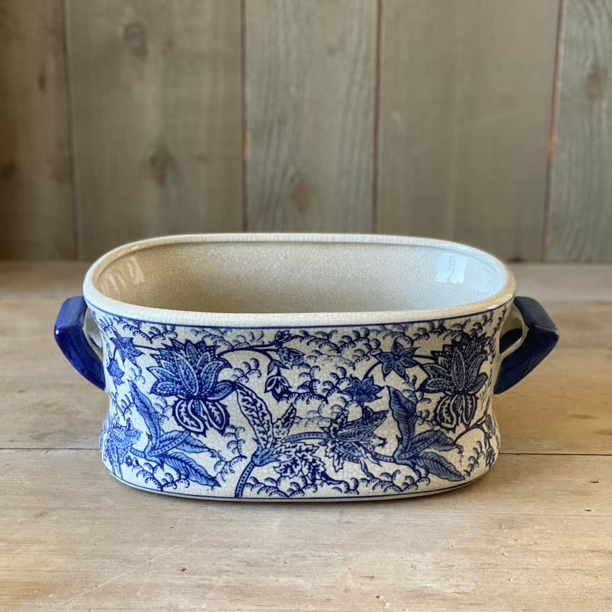 Chinese Porcelain Oval Cachepot with Leaves