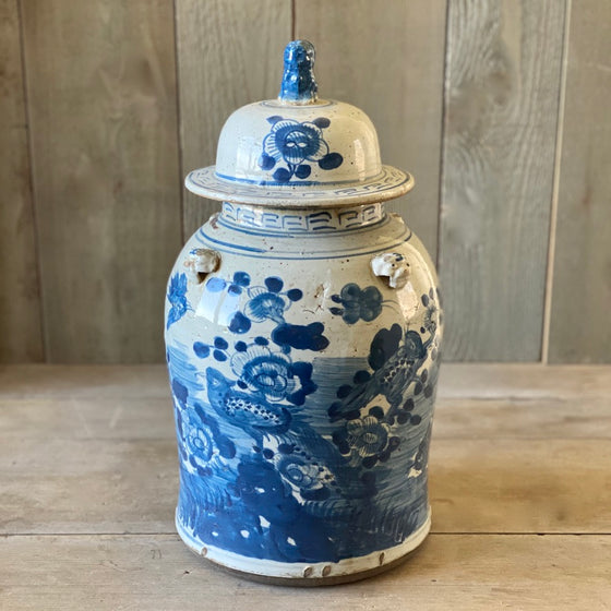 Chinese Porcelain Temple Jar with Flowers and Birds - Large