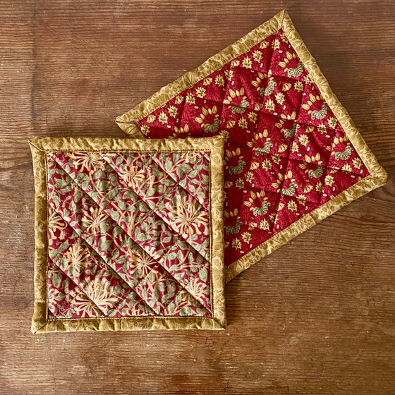 Set of William Morris Quilted Potholders - Honeysuckle