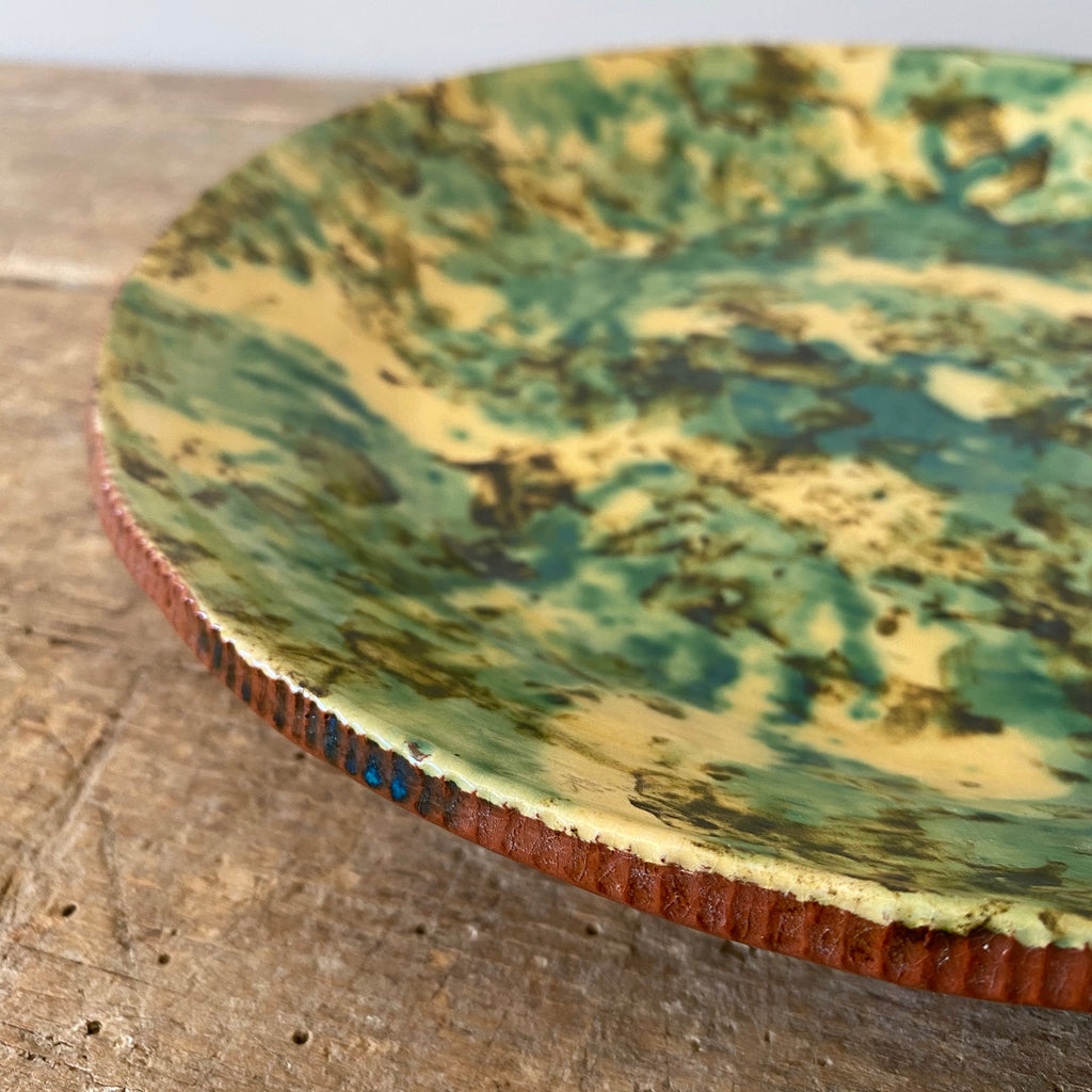 Large Serving Platter with Yellow and Blue-Green Glaze