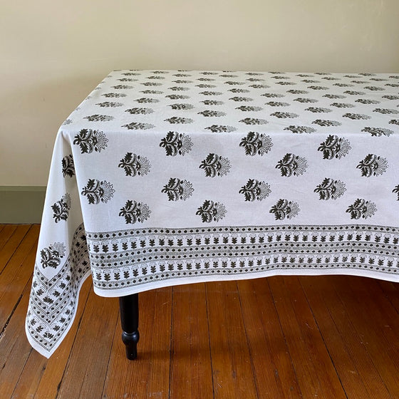 Agra Moss Hand Block Printed Tablecloth