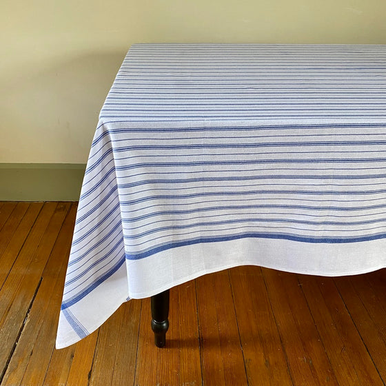 Cottage Stripe Tablecloth in Blue