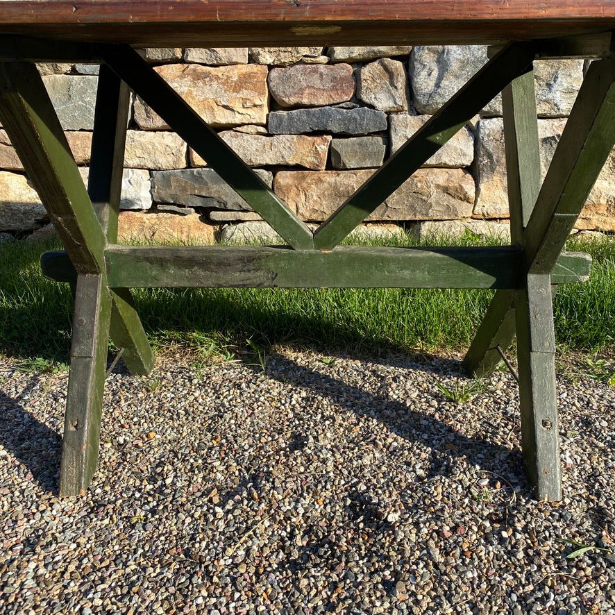 Antique American Sawbuck Table with Green Painted Base