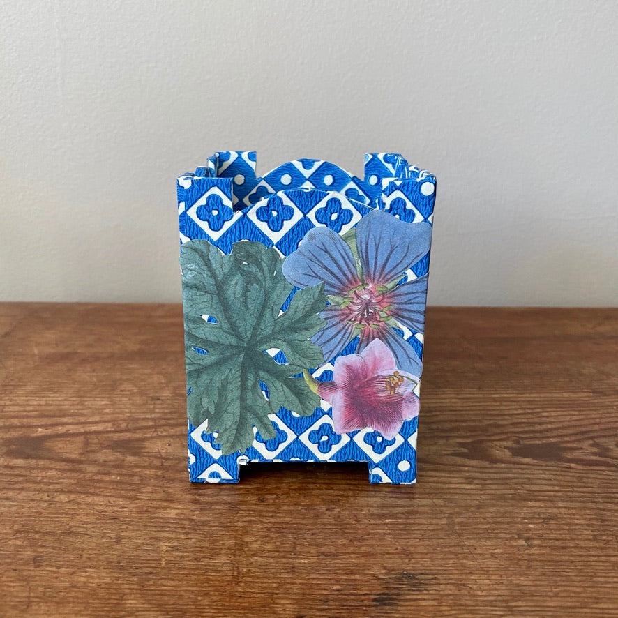 Footed Cache Pot Pencil Holder - Blue & Pink Flowers