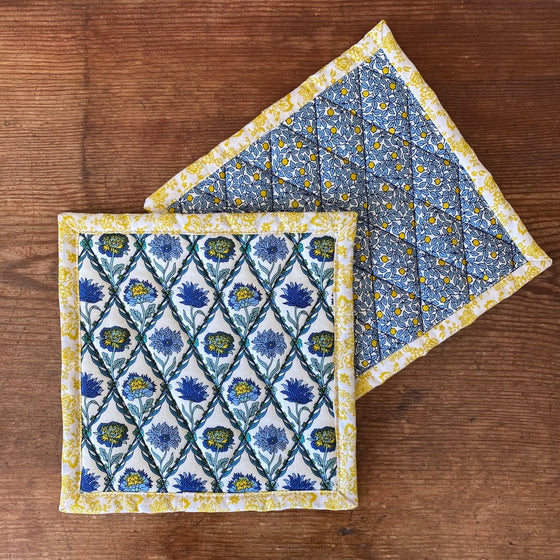 Set of Liberty of London Quilted Potholders - Kew Trellis