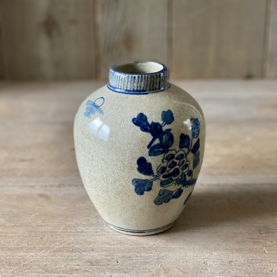 Chinese Porcelain Crackle Vase with Bird - Small
