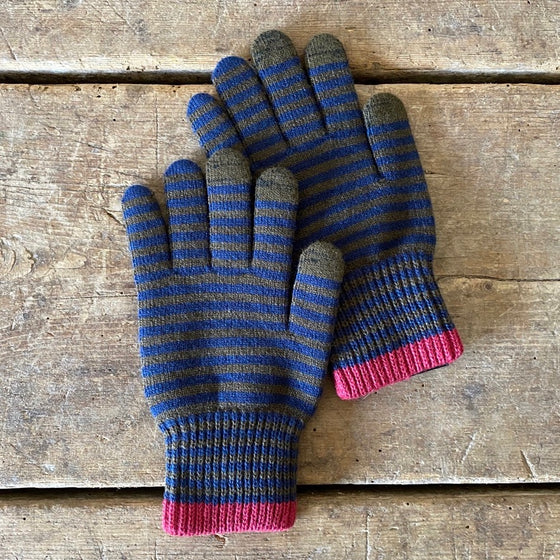 Con Wool Touchscreen Gloves - Olive & Navy