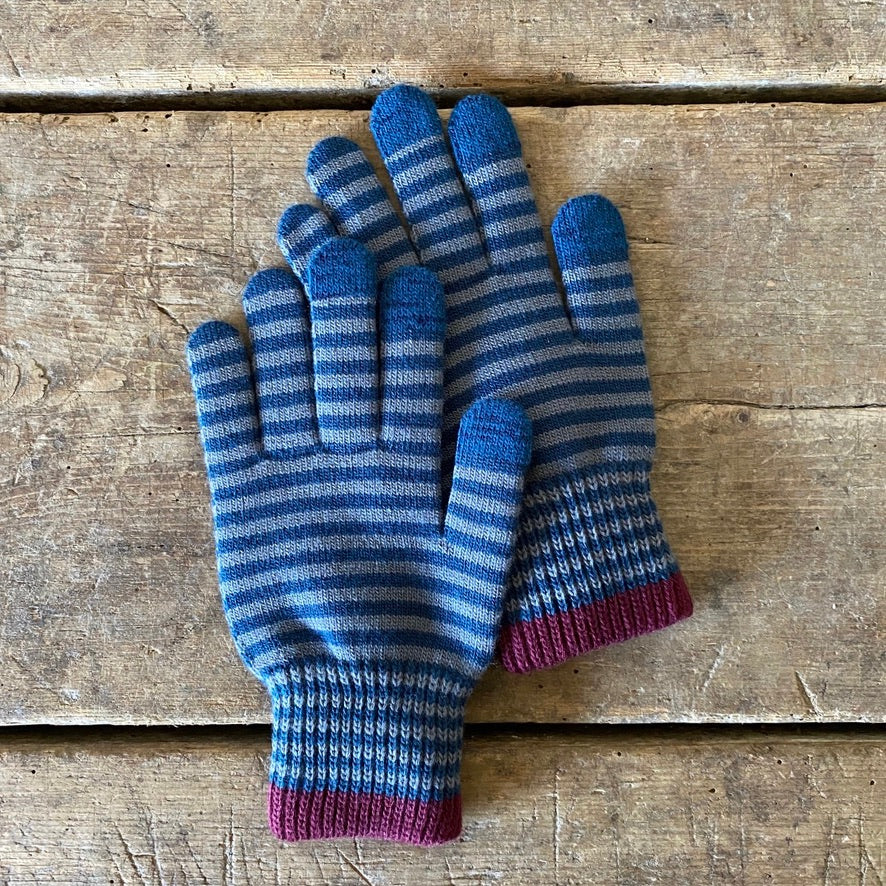 Con Wool Touchscreen Gloves - Deep Blue & Gray