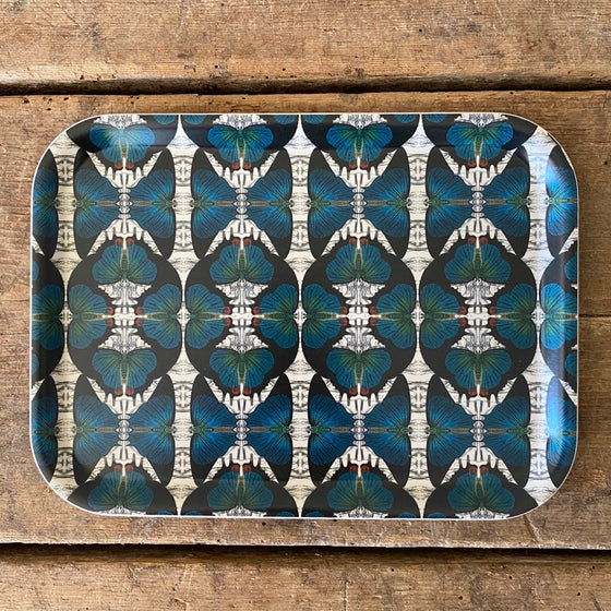 Rectangular Blue Butterfly Wood Tray
