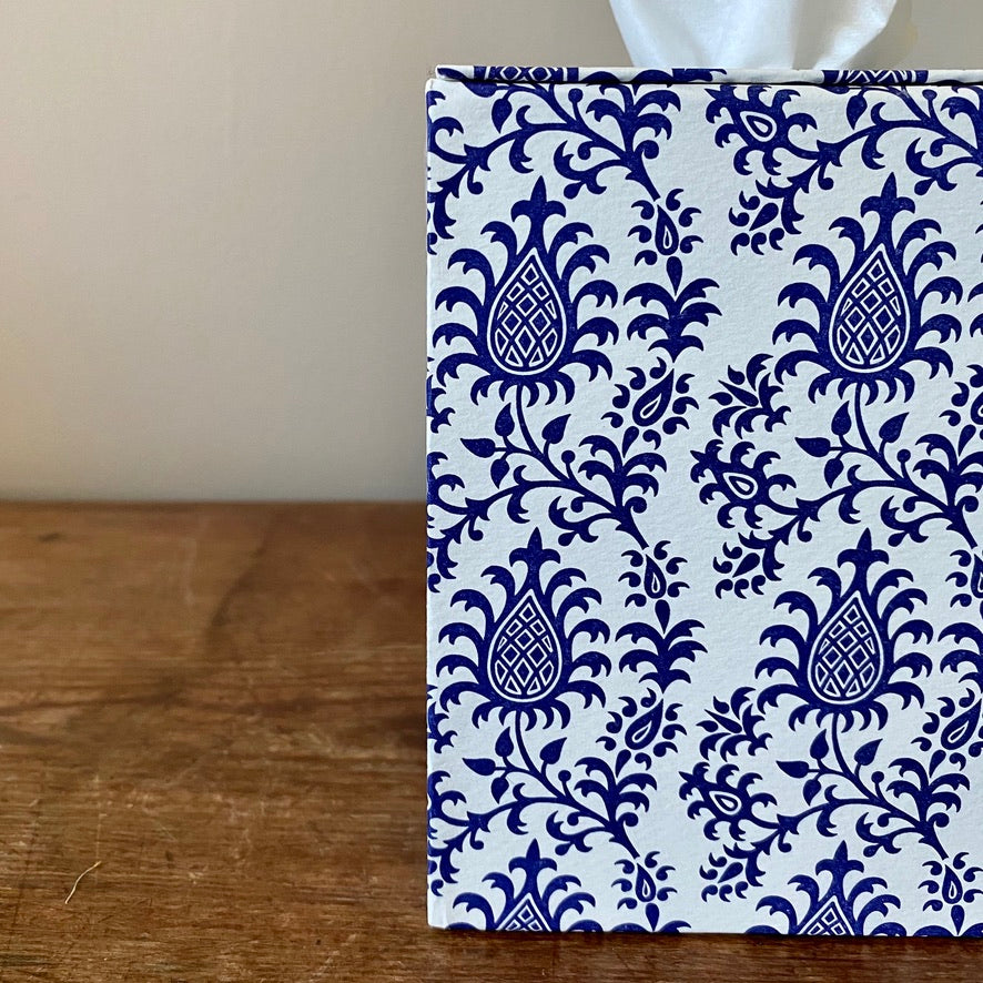 Square Tissue Box - White and Purple Paisley