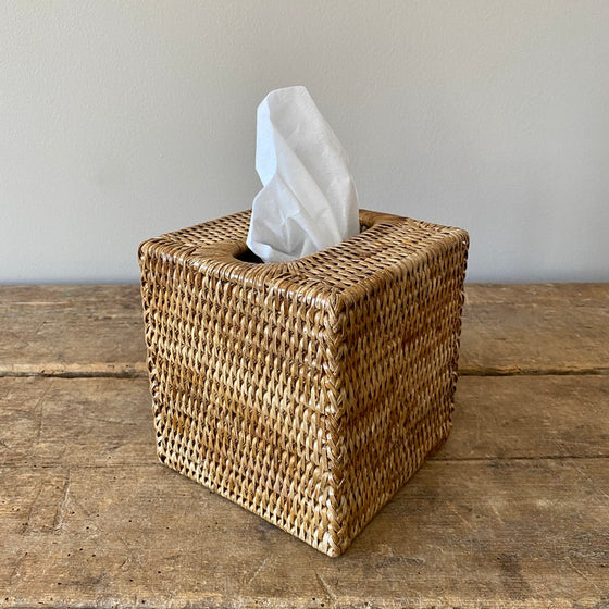 Handwoven Rattan Square Tissue Box