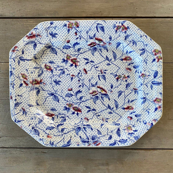 Antique Floral Transferware Serving Platter