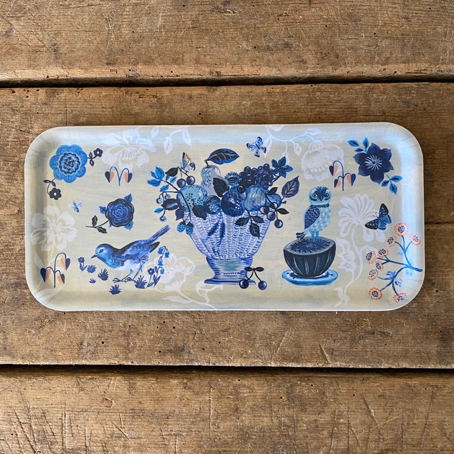 Small Rectangular Blue Story Wood Tray