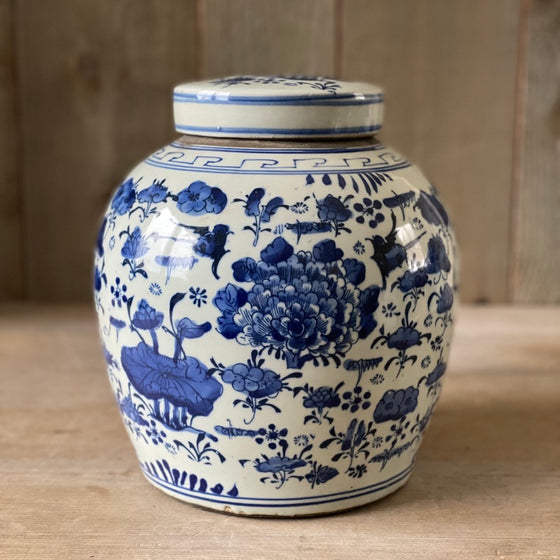 Chinese Porcelain Ginger Jar with All Over Birds and Flowers - Medium
